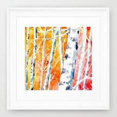 Watercolor Painting - Falling for Color - Birch Aspen Tree Art Print - Brazen Design Studio