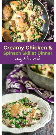 Try this low carb (2.9g net carbs) creamy chicken skillet dinner with spinach & mushrooms. Great dinner you can make in under 40 minutes.