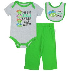 Teenage Mutant Ninja Turtles Infant Boys Size 3 6 Month Outfit Pants Shirt Bib