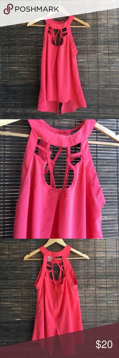 Coral pink halter tank top Halter tank top with button clothes in the back of neck with unique cut outs and slit in lower back Tops Tank Tops
