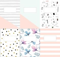 I adore the prints and colours Notebook Cover Design, Notebook Covers, School Notebooks, Cute Notebooks, Agenda Printable, Printable Binder Covers, Cute Binder Covers, Binder Cover Templates, School Book Covers