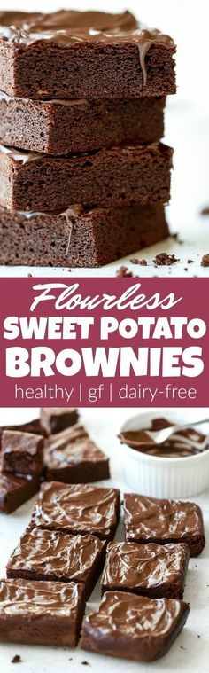 Flourless Sweet Potato Brownies made in the blender with only 7 ingredients! Theyre grain-free oil-free dairy-free and refined-sugar-free so they make a deliciously healthy gluten-free treat for when those chocolate cravings hit Gluten Free Sweets, Dairy Free Recipes, Gluten Free Baking, Vegan Gluten Free Brownies, Sugar Free Brownies, Healthy Brownies, Quick Recipes, Diet Recipes, Paleo Dessert