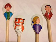 The Tiger who came to tea wooden spoon puppets for retelling the story. Made for my EYFS/KS1 book club.