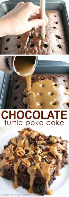 Chocolate Turtle Poke Cake - Mom Loves Baking If you're a fan of chocolate turtles, you'll love this cake. It's ooey, gooey good & easy to make using Eagle Brand Sweetened Condensed Milk limited edition flavors - caramel & chocolate! Brownie Desserts, Easy Desserts, Delicious Desserts, Yummy Food, Carmel Desserts Easy, Easy Dessert Recipies, Cake Mix Desserts, Quick Dessert, Baking Desserts