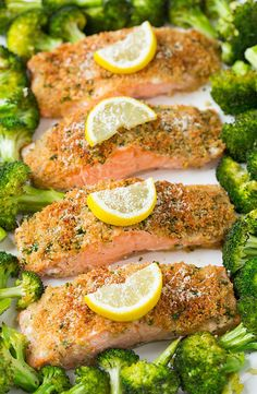 One-Pan Parmesan Salmon with Broccoli —how good does the parmesan breadcrumb crust look? via @cookinclassy