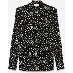 Saint Laurent Signature Dylan Collar Shirt ($725) ❤ liked on Polyvore featuring men's fashion, men's clothing, men's shirts, men's casual shirts, mens long sleeve shirts, mens slim fit shirts, mens slim shirts and mens button front shirts