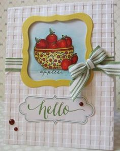 Apple Bowl by - Cards and Paper Crafts at Splitcoaststampers Ink Stamps, Homemade Cards, Tuesday, Card Ideas, Card Making, Challenge, Paper Crafts, Inspire, Apple