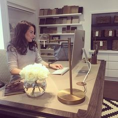 """@sophiepatersoninteriors's photo: """"I love my new bespoke desk in our renovated studio. I decided to go all out with the refurbishment as I wanted a space that would reflect the interiors we design. Your surroundings are so important and personally I can't work if my surroundings aren't ordered. Next on the list is a new rug and an antique mirror clad wall #bts #interiordesigner #designstudio #desk #luxuryinteriors #SophiePatersonInteriors"""""""