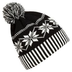 Christmas Snowflakes Thick Knitted Hat (31 TND) ❤ liked on Polyvore featuring accessories, hats, beanies, toca, winter, christmas beanie, beanie hats, beanie cap hat, beanie caps and christmas beanie hats