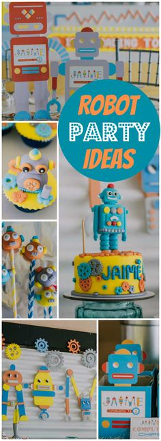 How fun is this robot themed birthday party! See more party ideas at CatchMyParty.com!