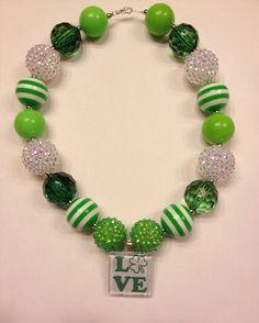 St. Patrick's Day Chunky necklace, St. Patrick's Day Bubblegum Necklace on Etsy, $18.00
