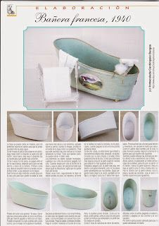 how to: mini bathtub plus shoes, kitchen fittings, rooms and houses and more.how tomato shabby chic dollhouse bathtub Dollhouse Miniature Tutorials, Miniature Rooms, Miniature Crafts, Miniature Furniture, Diy Dollhouse, Dollhouse Furniture, Dollhouse Miniatures, Tiny Furniture, Miniature Houses