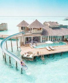 Water Villa with Slide in the Maldives Wasservilla mit Rutsche auf den Malediven Vacation Places, Vacation Destinations, Dream Vacations, Places To Travel, Beach Vacation Spots, Peru Vacation, Vacation Mood, Beach Vacations, Mexico Vacation