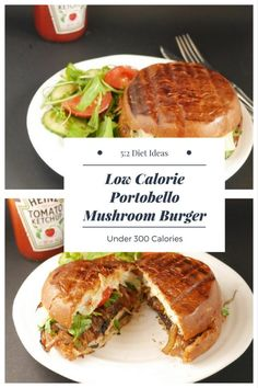 A Low Calorie Vegetarian Mushroom Burger that is just 300 calories - perfect for a fast day - Diet Veggie Burger Portabella Burger, Portobello Mushroom Burger, Diet Recipes, Vegetarian Recipes, Vegan Meals, Healthy Meals, Recipies, Healthy Recipes, Veggie Diet