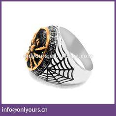 Hot Sale Superhero Spiderman Rings Stainless Steel Big Stone Ring Designs For Women