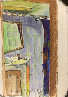 Last one for the moment from my Dhaka work trip Day 178 - Bathroom tiles Lastly here is the sketch I did this evening - looking into the bathroom from my hotel room. This was done in watercolour, ink and watercolour pencils. #Art #Drawing #Sketch #Urbansketching #Hotel #WorldWatercolourGroup #Bangladesh #Watercolour #Ink #Pastel