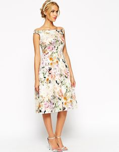 Image 1 of ASOS WEDDING Midi Floral Prom Dress