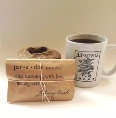 brown paper wrapped coffee wedding favor