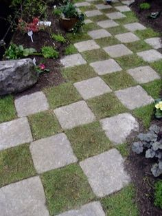 Checkerboard walkway
