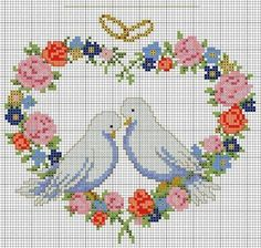 . Cross Stitch Heart, Cross Stitch Flowers, Needlepoint Patterns, Crochet Patterns, Wedding Cross Stitch Patterns, Filet Crochet Charts, Butterfly Embroidery, Christmas Cross, Embroidery Designs
