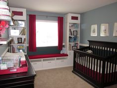I love the faux window seat!  2 Ikea bookcases and an Ikea TV stand.