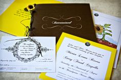 Kim Bensing Design | KimBensingDesign.com Intertwined Invitation Suite with Sun Flowers designed especially for Cory  Marissa. #weddings #sunflowerwedding #weddinginvitation #invitationbooks #specialeventinvitation