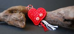 martisor, inima, fimo, polymer, heart, knitted pattern, red