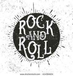 Monochrome Rock music print, hipster vintage label, graphic design with grunge effect, tee print stamp. t-shirt lettering artwork