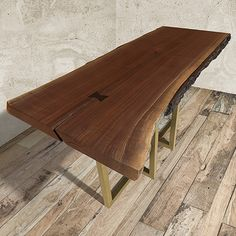 """57"""" One of a Kind Walnut Live Edge Console Table With Brass Base 1"""