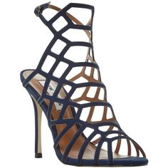 Steve Madden Slithur High Heeled Cage Sandals , Navy ($98) ❤ liked on Polyvore featuring shoes, sandals, navy, navy blue shoes, stiletto sandals, navy blue high heel sandals, navy flat shoes and caged flat sandals