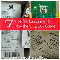 """7 Tips for Learning to Play the Drug Store Game.  Ever wonder how those """"crazy"""" people walk out of the drug store with lots of products and spending little money?  With a little time and effort, you can too by playing the drug store game.  Here are some tips for getting started!"""