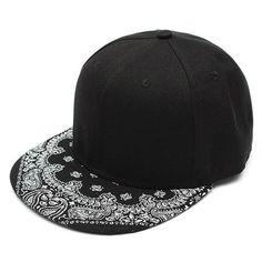 Men Women Adjustable Baseball Cap  Flat Bill Paisley Hippie Snapback HipHop Hat - Gchoic.com