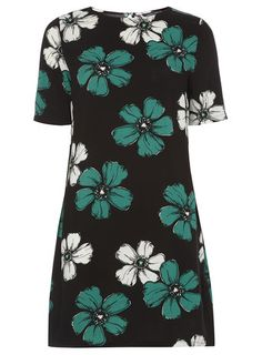 Black Large Floral Tunic - Tops & T-Shirts - Clothing - Dorothy Perkins Clothing For Tall Women, Clothes For Women, Floral Tunic, Petite Outfits, Shirt Outfit, Short Sleeve Dresses, Tunic Tops, Trending Outfits, Black