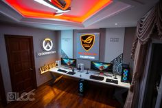 Video game room ideas, game room setup, gaming setup for bedroom, PC game setup, gaming console room Best Gaming Setup, Gaming Room Setup, Computer Setup, Gaming Rooms, Gaming Computer, Office Games, Office Setup, Pc Setup, Bedroom Setup