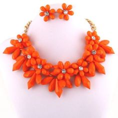 Daisy Chunky Resin & Crystal Bib Statement Necklace Set