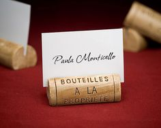 """""""Wine and Dine"""" Wine Cork Place Card Holder (Set of Four)"""