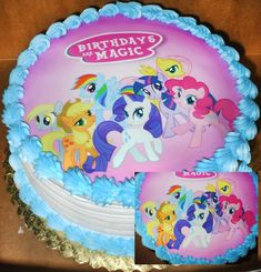 The Birthday cake that my love Designed with the My Little Pony Friendship Is Magic Ponies. Picture of cake and a close up of the ponies. *My Little Pony is Property of Hasbro*