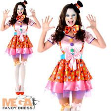 Clown Girl Ladies Fancy Dress Circus Fun Novelty Carnival Womens Adults Costume