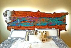Pretty awesome looking headboard for king size bed. Carved raw | Etsy Solid Wood Bed Frame, Glass Center, River Stones, King Headboard, Wood Slab, Light Reflection, How To Make Bed, Pretty Cool, King Size