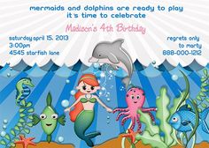 Deb's Party Designs - Mermaid Dolphin Birthday Invitation, $1.00 (http://www.debspartydesigns.com/mermaid-dolphin-birthday-invitation/)