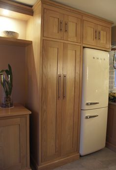 American Oak fitted storage cabinetry with canopy lit display shelving. Display Shelves, Shelving, Fitted Cabinets, Canopy Lights, Armoire, Tall Cabinet Storage, Furniture, American, Home Decor