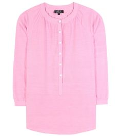 A.P.C. - Cotton top - This cotton top is the epitome of the effortless summer staple. Crafted in a featherweight cotton in girly pink, A.P.C.'s design is finished off with a dainty buttoned front. Team yours with denim and floaty skirts alike. seen @ www.mytheresa.com