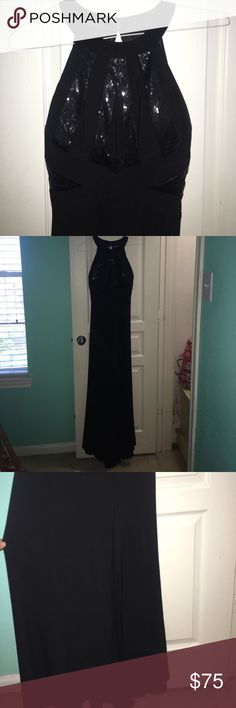 Black Prom Dress Open Back with Leg Slit WORN ONCE Long black prom dress with sparkly (small sequin) accents. With a leg slit. High neck. Worn once. No rips or tears, just like new. Zips in back. Morgan & Co. Dresses Prom
