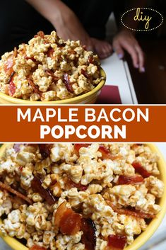 This recipe is so easy and totally delicious, youll even want it for breakfast! The sweet crunch of popcorn is perfect with the candy glazed bacon pieces. This is the perfect treat for the bacon lover in your life. Bacon Popcorn, Flavored Popcorn, Gourmet Popcorn, Popcorn Snacks, Bacon Caramel Popcorn Recipe, Homemade Popcorn, Popcorn Maker, Yummy Snacks, Snack Recipes