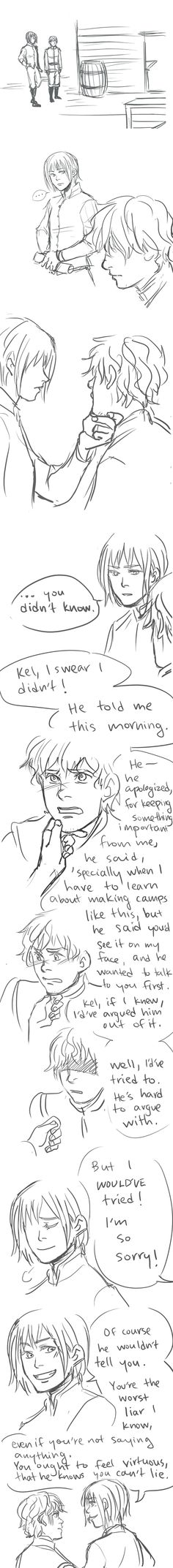 Kel and Owen's conversation from Lady Knight by Tamora Pierce --drawn by Minuiko