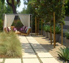 walkway, seating, curtains, grasses. #patio #backyard