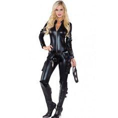 Womens black wet look faux leather cat body suit jumpsuit halloween sexy black widow cat suit catwoman womens halloween costume bodysuit size large multicolor solutioingenieria Images