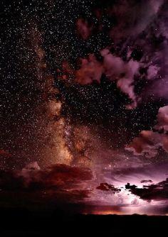 Beautiful Mother Nature ~ pink night sky stars clouds