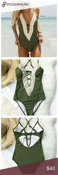 ️ Coming Soon! V-neck Lace Swimsuit Beautiful v-neck and lace suit. Beautiful delicate straps. **Will drop price when inventory arrives, so you know it's available for your purchase.** Swim One Pieces