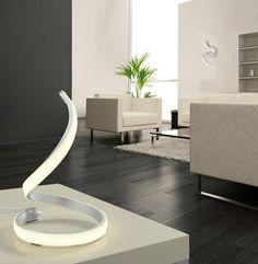 Spiralna nowoczesna lampa do salonu na komodę lub biurko